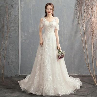 ウェディングドレス ウェディングドレス白 パーティードレス エンパイア/トレーン 花嫁ロングドレス 結婚式 V襟 二次会 エレガント レース 挙式hs4995