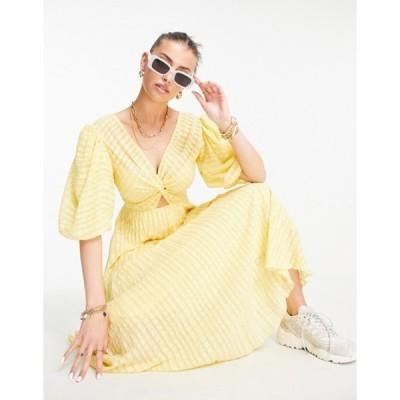 エイソス レディース ワンピース トップス ASOS DESIGN twist front pleated midi skater dress in textured in lemon yellow
