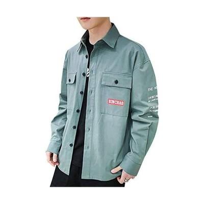 Tomnana シャツ メンズ 長袖 七分袖 ワイシャツ カジュアル ファッション かっこいい 柔らかい 春夏秋冬 (03 グリーン XL)