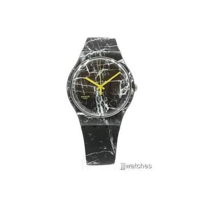 腕時計 スウォッチ New Swatch Originals New Gent MARMOR Black Silicone Watch 42mm SUOB123