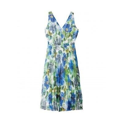 Maggy London マギーロンドン レディース 女性用 ファッション ドレス Watercolor Printed Chiffon A-Line Dress w/ Pleated Skirt - Soft White/Cobalt