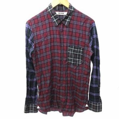 【中古】ファクトタム FACTOTUM 12SS レギュラーカラー チェックシャツ 長袖 01060123 切替 48 L 赤 レッド K041013