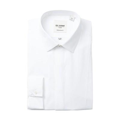 ベンシャーマン メンズ シャツ トップス End On End Stripe Tux Tailored Skinny Fit Dress Shirt WHITE