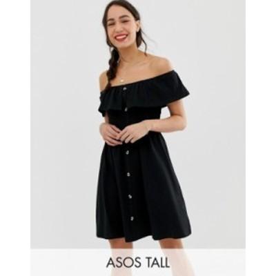 エイソス レディース ワンピース トップス ASOS DESIGN Tall mini button through sundress with tiered skirt Black