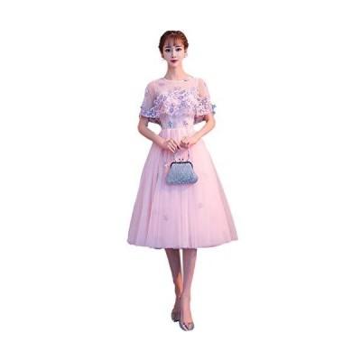 FASELE イブニングドレス パーティー ドレス レデイース ワンピース チュール ケープ付き お姫系 甘め お花 花嫁?