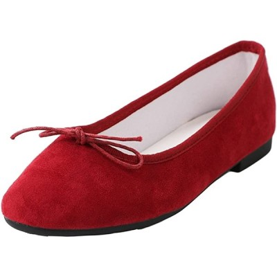 フラット スウェード カジュアル フラットシューズ 靴 ローヒール 歩きやすい パンプス ぺたんこ 柔らかい(レッド, 23.0 cm)