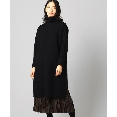 LUMINOSO COMMECA/ルミノーゾ・コムサ プリーツスカート付 ハイネックドレス ブラック×ブラウン 7号