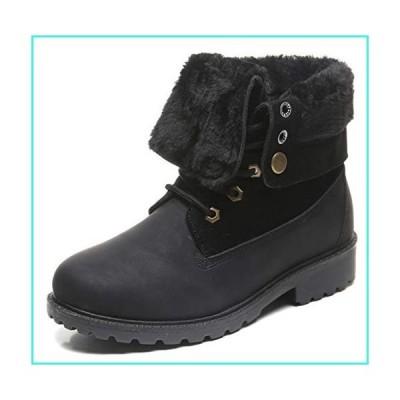 【新品】DADAWEN Women's Round Toe Waterproof Outdoor Lace up Work Combat Ankle Bootie Fur Lined Warm Winter Snow Boots Black US Size 8