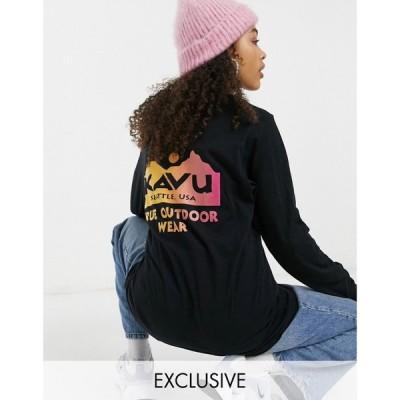 カブー KAVU レディース 長袖Tシャツ トップス Kavu Back Logo long sleeve t-shirt in black Exclusive at ASOS ブラック