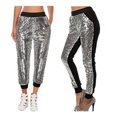大きいサイズあり スパンコール パンツ ダンス衣装 ジョガー パンツ サルエル ロング丈 ストレッチジャージー ポケット 裏地つき S M L XL 男女兼用