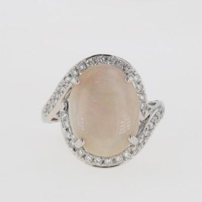 オパール デザインリング プラチナ 指輪 メレダイヤ リング 16号 Pt900 オパール ダイヤモンド レディース 中古