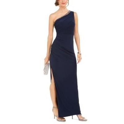 アドリアナ パペル レディース ワンピース トップス Petite One-Shoulder Jersey Gown Midnight