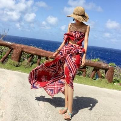 サマードレス 安い 可愛い バカンス ドレス チューブトップ フリル トロピカル リゾート 海 ビーチ ロング 夏 おしゃれ 柄物