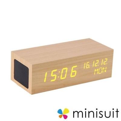時計 デジタル置き Bluetooth スピーカー 付き スピーカー 木目 アラーム USB給電 Bluetooth ワイヤレス スピーカー