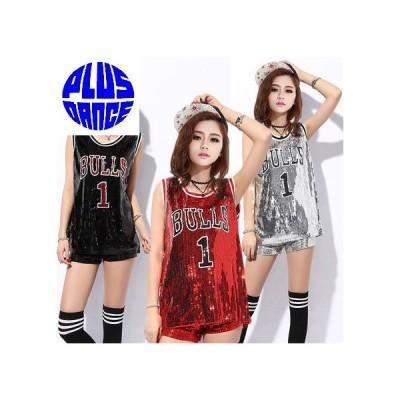 ダンス バスケットボール バスケ スパンコール ユニフォーム タンクトップ メタリック ゲームシャツ 予約商品