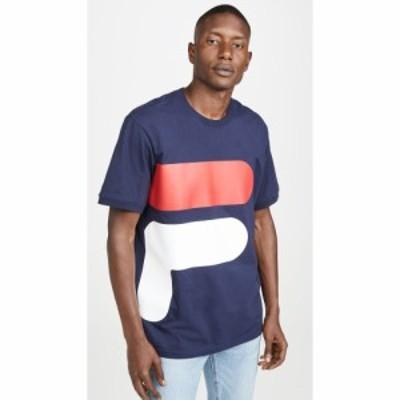 フィラ Fila メンズ Tシャツ ロゴTシャツ トップス Alvan Largo Logo Tee Peach/White/Cherry Red