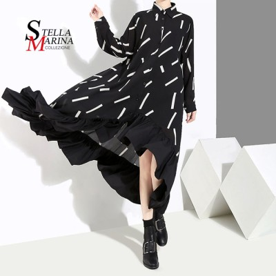 欧米風!ロングマキシ丈長袖 フリルワンピース レディースファッション  イタリア・スタイル   韓国ファッション  3907