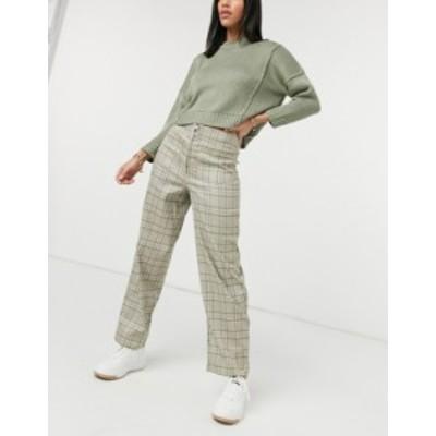 エイソス レディース カジュアルパンツ ボトムス ASOS DESIGN straight leg zip front pants in brown check Brown