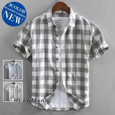 メンズカジュアルシャツ40代30代シャツ50代半袖シャツチェックシャツ夏服トップス