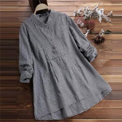 シャツ シャツブラウス トップス レディース 長袖 チェック柄 体型カバー 春 カジュアル コーデ 綿麻 きれいめ ベーシック ゆったり 可愛