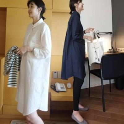 春秋 ルーズ シンプル ヘッジ ミドル丈 長袖 ドールスカート ポロカラー ボトミング ドレス