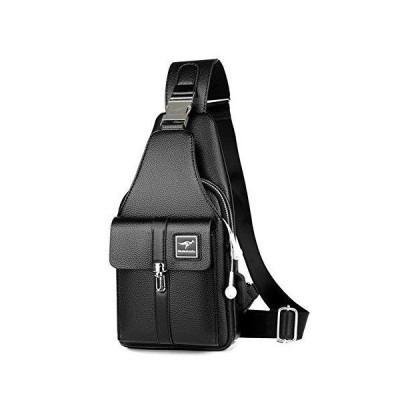 Leathario Crossbody Bag Men Genuine Leather Sling Bag Chest Shoulder Bag Vintage Multipurpose Anti Theft Business Casual Outdoor Travel Black 並行