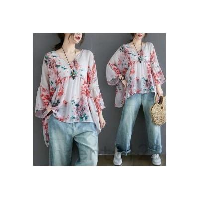 Tシャツレディース七分袖Vネックパフスリーブプリント花柄体型カバー大きいサイズカジュアル薄手ゆったり着痩せ通勤ファッション夏新作