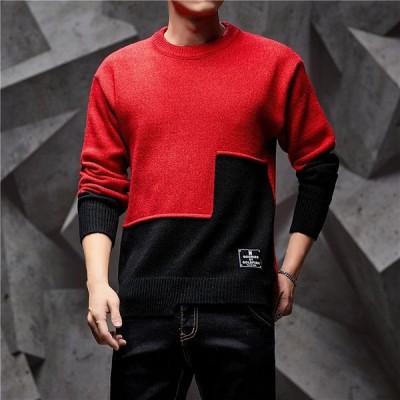 ニットセーター プルオーバー メンズ インナー 配色デザイン 長袖 バイカラー 切り替え トップス セーター 丸首 カジュアル イレギュラーヘム
