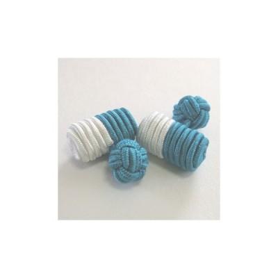 ゴムカフス(Barrel Cuffknots/セパレート カフリンクス ラバーカフス カフスボタン)・ターコイズブルー×ホワイト