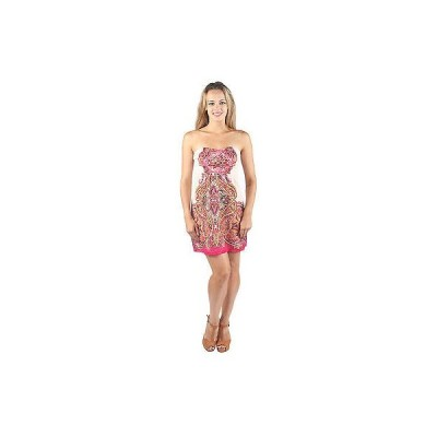 ファッション アクセサリー レディース ウェア ドレス ワンピース Hadari Womens Strapless Heartshaped Neckline Cream Dress  paisley prin