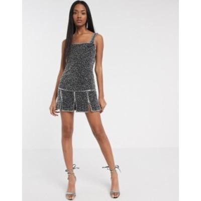 エイソス レディース ワンピース トップス ASOS DESIGN embellished split hem shift dress Black