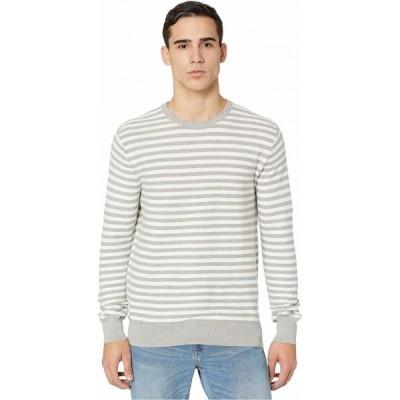 ジェイクルー J.Crew メンズ ニット・セーター トップス Cotton Crewneck Sweater in Striped Garter Stitch Strie Heather Grey