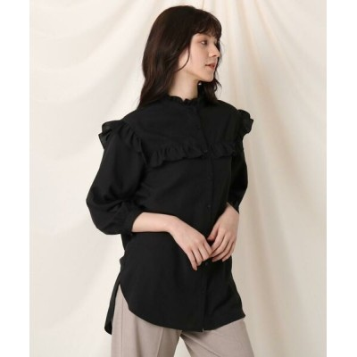 Couture Brooch/クチュールブローチ フリルスタンドロングブラウス ブラック(019) 38(M)