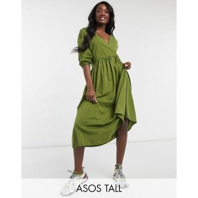 エイソス ASOS Tall レディース ワンピース ラップドレス ミドル丈 Asos Design Tall Midi Smock Dress With Wrap Top In Olive Green オリーブグリーン