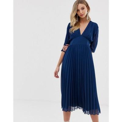 エイソス ASOS DESIGN レディース ワンピース ワンピース・ドレス pleated midi dress with batwing sleeves Navy