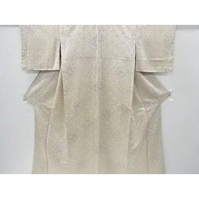 宗sou 金通し麻の葉に花模様小紋着物(重ね衿付き)【リサイクル】【着】