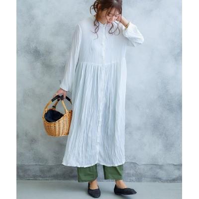 クリンクル加工前開ロングワンピース【ゆったりワンサイズ】 (ワンピース)Dress