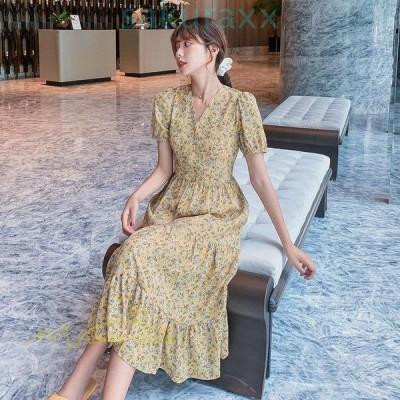 夏ワンピース レディースワンピ シフォンワンピース 韓国ファッション 小顔効果 着痩せ感UP きれいめ 体型カバー 膝下 花柄 着痩せ ドレス Vネック 2タイプ