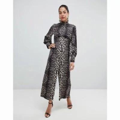 エイソス オールインワン ASOS Design Jumpsuit with high neck and blouson sleeve in animal print Multi