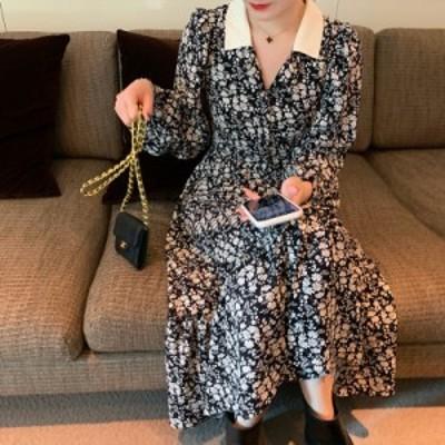 レディースファッション エレガントなターンネックフローラルプリント女性ドレスフレア袖Aライン女性シフォンドレス2019ヴィンテージ女性