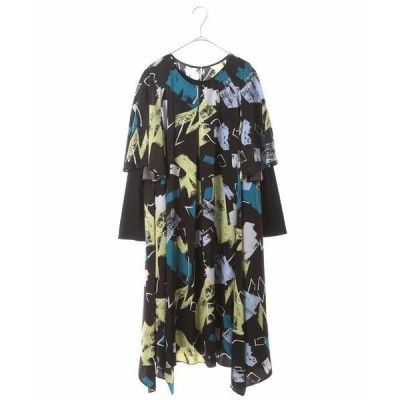 HIROKO BIS GRANDE / ヒロコビス グランデ 【洗濯機で洗える】デザインアートプリントドレス