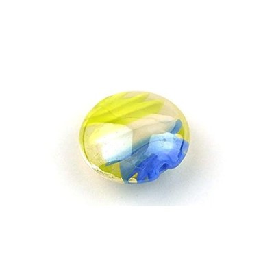【とんぼ玉 R2M】ガラスビーズ 20mm 楕円 おはじき型トンボ玉 アクセサリー ハンドメイド パーツ イエロー&ブルー
