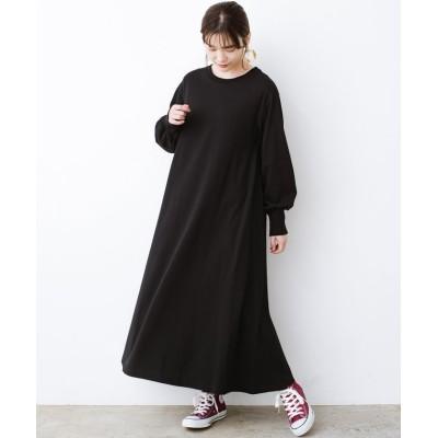 (haco!/ハコ)1枚で完璧シルエット!ぽんわり袖がかわいい楽ちんカットソーワンピース/レディース ブラック