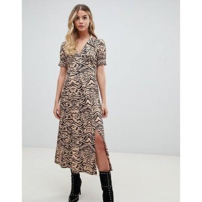 エイソス レディース ワンピース トップス ASOS DESIGN animal print midi tea dress in rib Zebra print