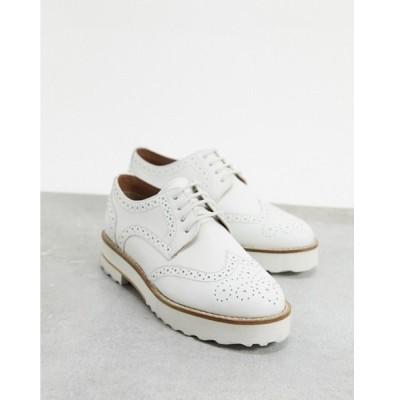 エイソス レディース スリッポン・ローファー シューズ ASOS DESIGN Mottle leather flat brogues in white