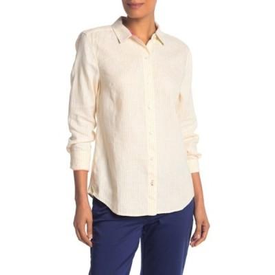 トッミーバハマ レディース Tシャツ トップス Crystalline Waters Striped Linen Shirt SAMOAN SUN