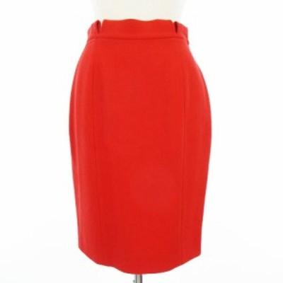 【中古】クリッツィア KRIZIA スカート ひざ丈 バックボタン ウール 赤 レッド 40 IBS86 レディース