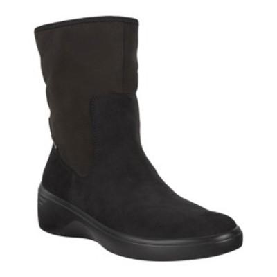 エコー レディース ブーツ&レインブーツ シューズ Soft 7 Wedge Mid GORE-TEX Waterproof Boot Black/Black Cow Nubuck/Textile