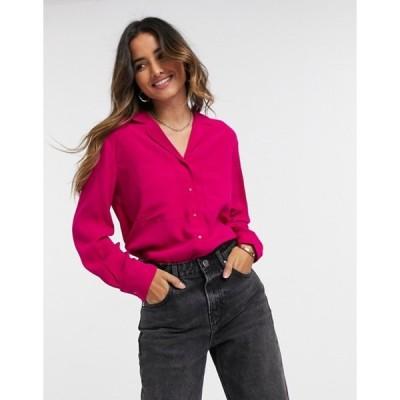 マンゴ レディース シャツ トップス Mango pocket front shirt in hot pink