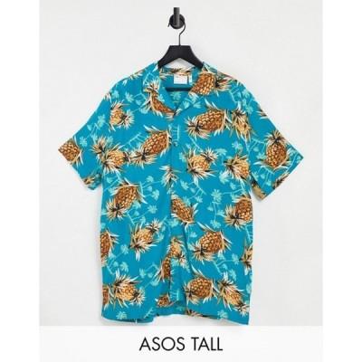 エイソス メンズ シャツ トップス ASOS DESIGN Tall relaxed revere shirt in pineapple viscose print